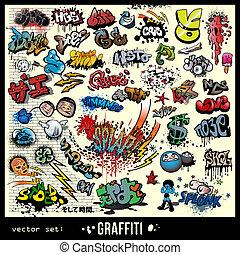 elemente, graffiti, satz, vektor