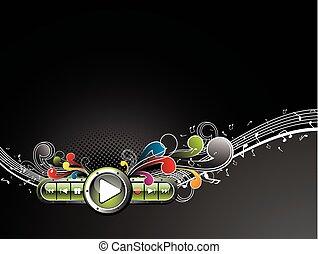 elemente, grunge, colorfull, dunkel, hintergrund., vektor, blumen-, glänzend, buttonset
