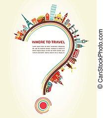 elemente, heiligenbilder, tourismus, fragezeichen, reise, wohin