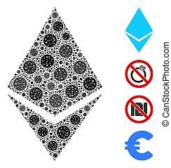 elemente, kristall, ethereum, collage, coronavirus