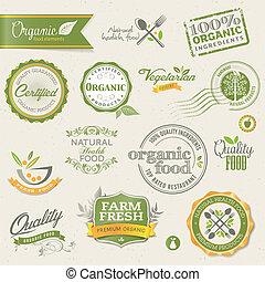 elemente, lebensmittel, organische , etiketten