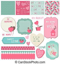 elemente, liebe, -, einladung, vektor, design, grüße, sammelalbum, satz, karten