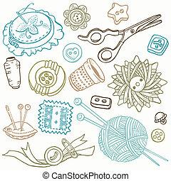 elemente, nähen, -, hand, vektor, design, doodles, gezeichnet, satz