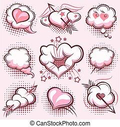 elemente, valentines, pfeile, herzen, komiker, explosionen, tag