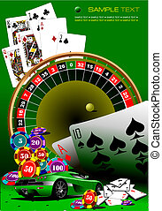 elements., kasino, vektor, illustrati