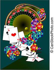 elements., roulette., kasino, abbildung, vektor, schwarz, jack.