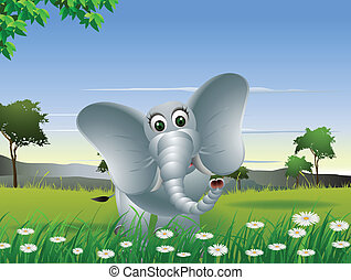 Elephant Cartoon auf dem Wald