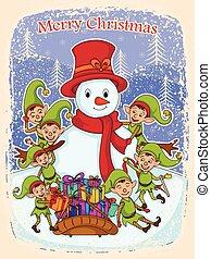 Elf mit Schneemann und Geschenk für frohe Weihnachten.