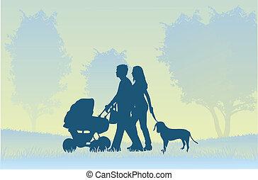 Eltern mit einem Kind im Haus.