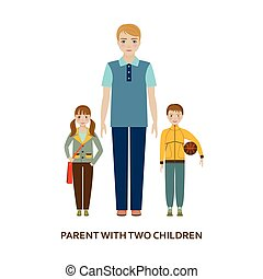Eltern mit zwei Kindern. Kartoon Illustration