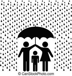 Eltern schützen Kinder mit Regenschirm