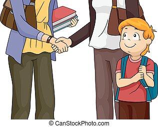 Eltern- und Lehrertreffen.