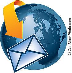 Email, die die Erde umkreist