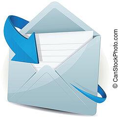 Email Icon mit blauem Pfeil