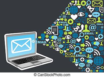Email Marketing-Icon-Spritze-Konzept