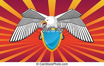 Emblem mit einem Adler.