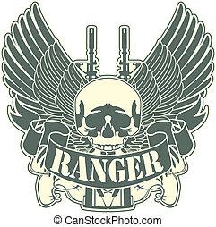 Emblem mit einem Schädel und der Waffe