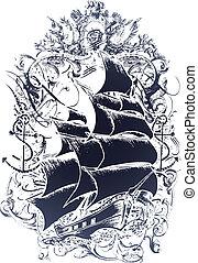 Emblem vom alten Schiff