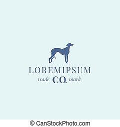 emblem, zeichen, abstrakt, windhund, hund, oder, typography., elegant, vektor, nobleness, retro, nobel, silhouette, jagdhund, template., logo