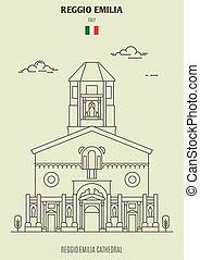 emilia, italy., reggio, grenzstein, ikone, kathedrale