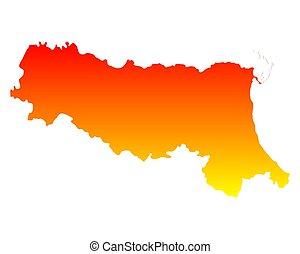 emilia-romagna, landkarte