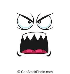 emoji, emoticon, böser , freigestellt, schreien, schreien