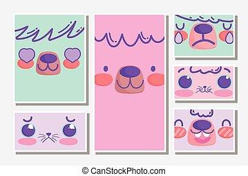 emojis, gesichter, karikatur, reizend, kawaii, tiere, satz