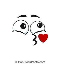 emoticon, gesicht, blasen, freigestellt, emoji, kuß, küssende