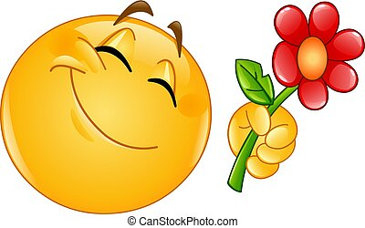 Emoticon gibt Blumen.