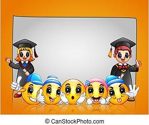 emoticon, hintergrund, schablone, studienabschluss, kinder, glücklich, gelber
