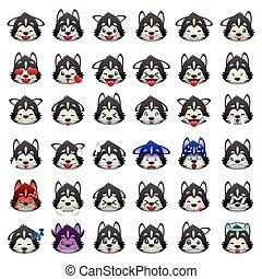 emoticon, hund, sibirische schlittenhunde, ausdruck, emoji