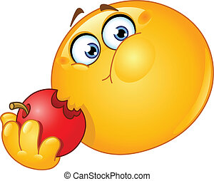 Emoticon isst Apfel