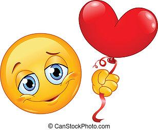 Emoticon mit Herzballon