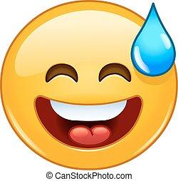 Emoticon mit offenem Mund und kaltem Schweiß.