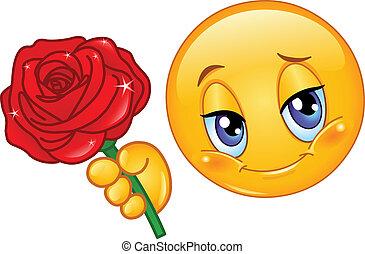 Emoticon mit Rose