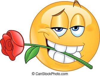 Emoticon mit Rosen zwischen den Zähnen.