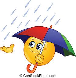 Emoticon mit Schirm