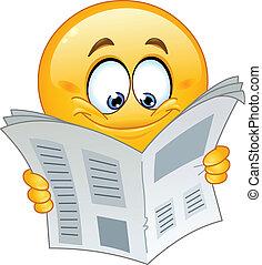 Emoticon mit Zeitung