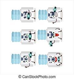 emoticon, zeichen, karikatur, fotograf, wasser, beruf, kühlcontainer