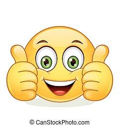 Emoticon zeigt Daumen nach oben