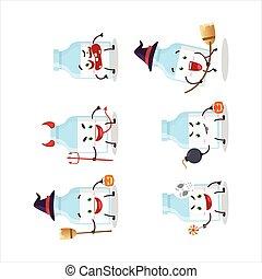 emoticons, milch, karikatur, ausdruck, flasche, halloween, zeichen