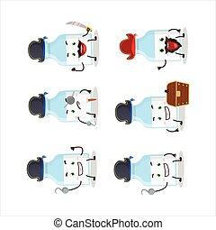 emoticons, milch, karikatur, flasche, zeichen, piraten, verschieden