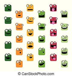emoticons, satz, frosch