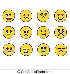 emoticons, verschieden, abbildung, gefuehle