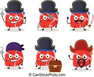 emoticons, verschieden, zeichen, piraten, fleisch, karikatur
