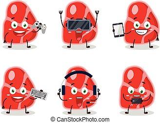 emoticons, verschieden, zeichen, spiele, fleisch, reizend, karikatur, spielende