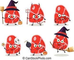 emoticons, zeichen, ausdruck, fleisch, halloween, karikatur