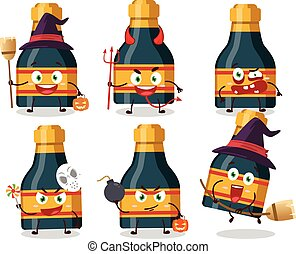 emoticons, zeichen, halloween, ausdruck, karikatur, flasche, wein
