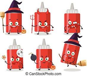 emoticons, zeichen, halloween, ausdruck, karikatur, soße, flasche