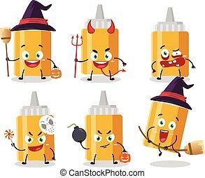 emoticons, zeichen, mayonaise, karikatur, ausdruck, halloween, flasche